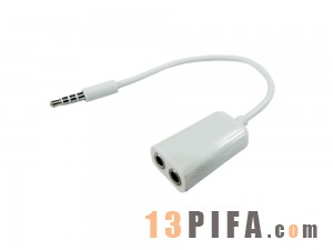 [白色]3.5公/2F苹果情侣一分二音频线