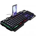 [纯黑]G700 追光豹悬浮式镭雕字符背光游戏键盘