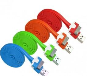 [大面条六针] 1M苹果彩色iphone4/4s/iPad2/3充电线数据线电源线[扁线]