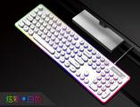[朋克金属白]K19 蝰蛇机械手感金属复古圆键朋克竞技游戏键盘