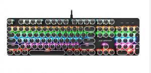 冰甲BT-K9黑色真机械炫彩跑马灯游戏键盘USB键盘