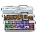 蝰蛇k18冰蓝字符发光铝合金金属机械手感游戏键盘鼠标有线键盘