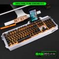 蝰蛇k18橙光字符发光铝合金金属机械手感游戏键盘鼠标有线键盘