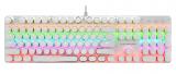 冰甲BT-K9白色真机械炫彩跑马灯游戏键盘USB键盘